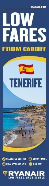 Low fares from Cardiff to Tenerife with RYANAIR