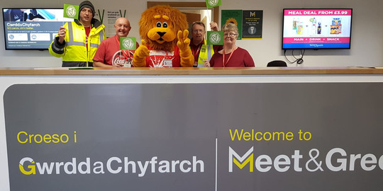 Cardiff Airport raises over £500 for Velindre on Wear Red for Wales and Velindre Day